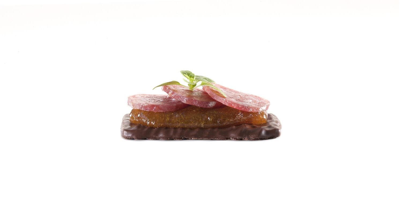Almond thins dark chocolate fuet sausage