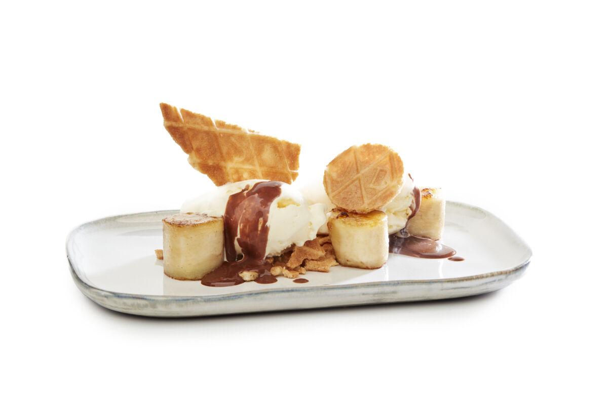 Galette au beurre banane chocolat assiette