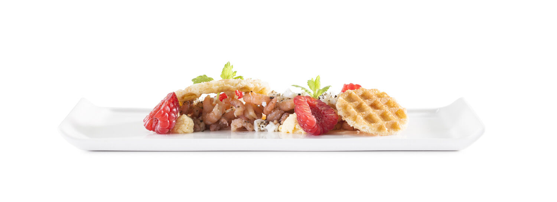 Parijse wafel grijze garnalen bord