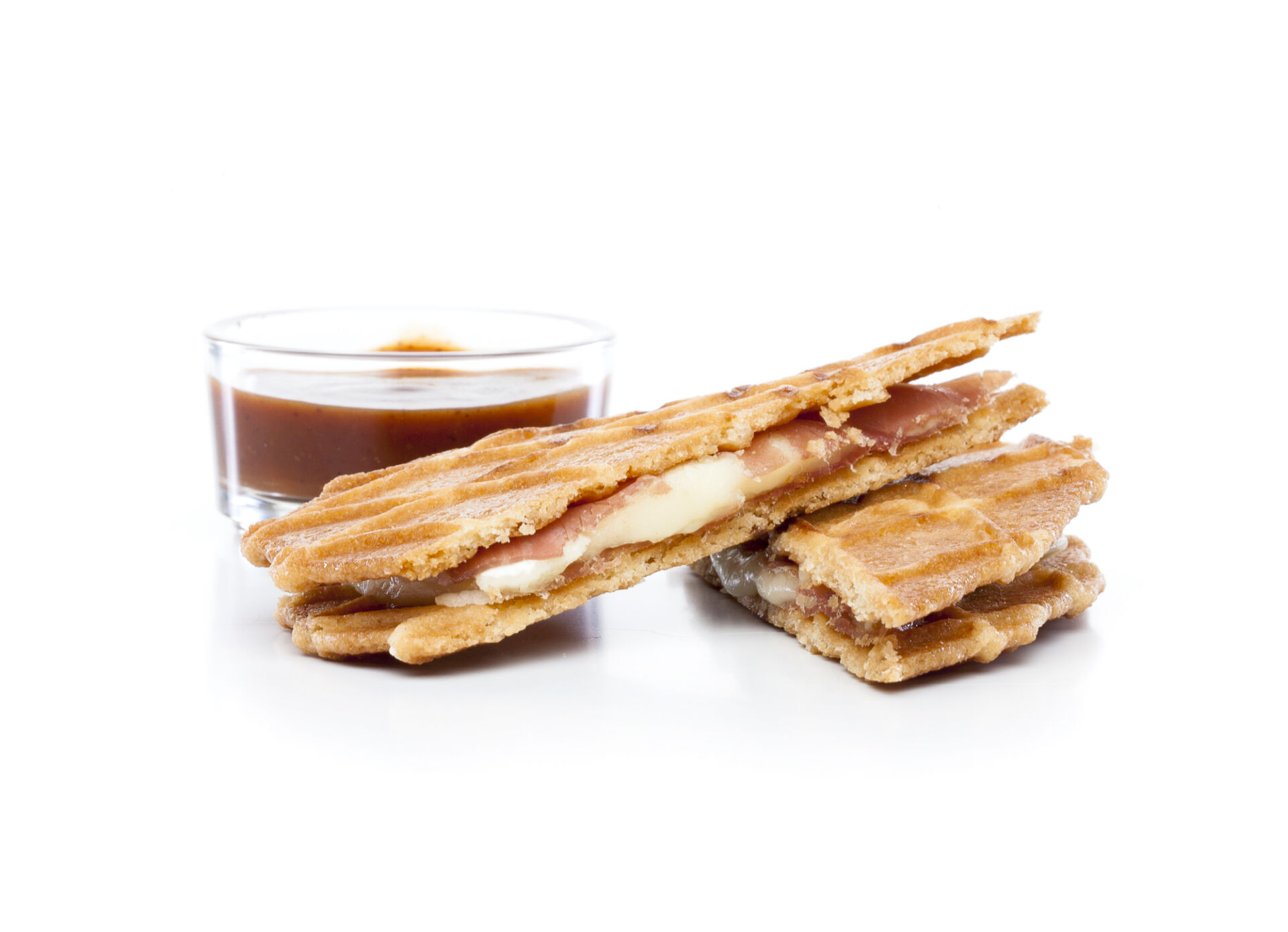 Croque galette au beurre jambon ganda brie
