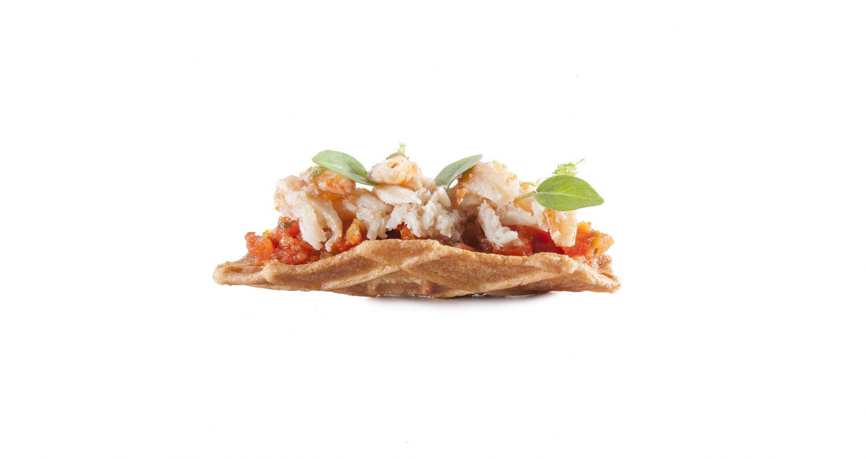 Taco boterwafel krab