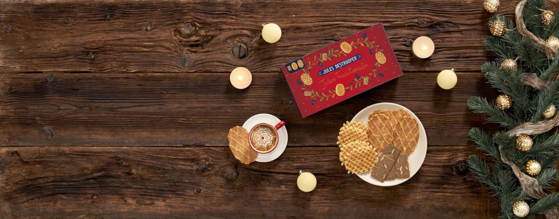 Wooden background red box biscuits